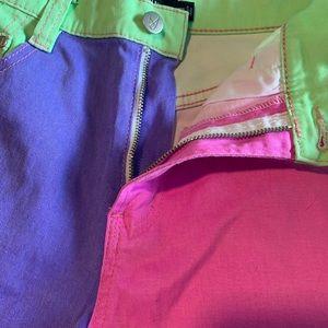 MINKPINK Shorts - MINKPINK neon high waist denim shorts